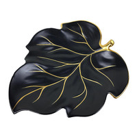 Vintage Carlton Ware Maple Leaf Plate, Black Hand Painted Gold Accents, Mid Century Decor