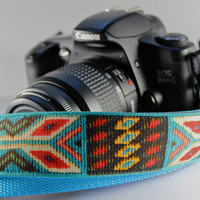"""Funky Camera Straps for Canon Nikon Olympus style dslr's--""""Spirit of the West"""" in faux tapestry"""