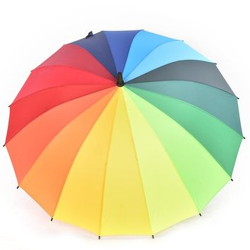 Women Rain Umbrella Top Quality Long Handle Big Rainbow Walking Stick Umbrella Cane Anti-UV Sunny Golf Windproof Parasol