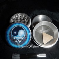 Grateful Dead Skull Yin Yang 4 Piece Herb Grinder Pollen Screen Catche