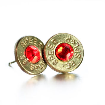Bullet Stud Earrings - Silver and Orange/Red