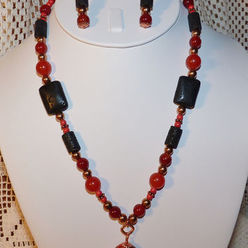 Red Agate & Black Lava Copper Necklace and Earring Set