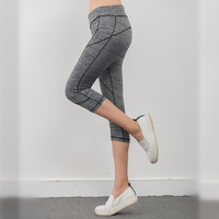 Ayopanda Solid Color Slim Yoga Pants Capris Women's Grey High Waist Fitness Leggings Stretched  Running Tights