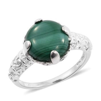 African Malachite Sterling Silver Solitaire Ring TGW 8.50 cts