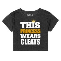 Soccer Softball Princess Wears Cleats Half Tiger Crop Top-T-Shirt