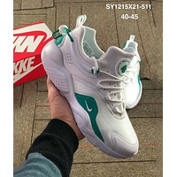 Nike Air Huarache tide brand men and women retro shock comfortable men's sports shoes White