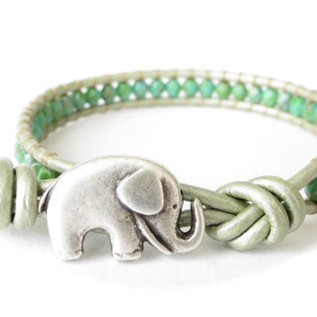 Spring green elephant bracelet, skinny metallic seafoam leather bracelet, cute jewelry gift for best friend