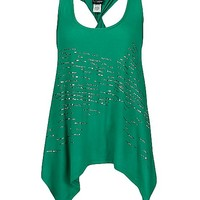 Women's Twisted Racer Back Tank Top in Green by Daytrip.