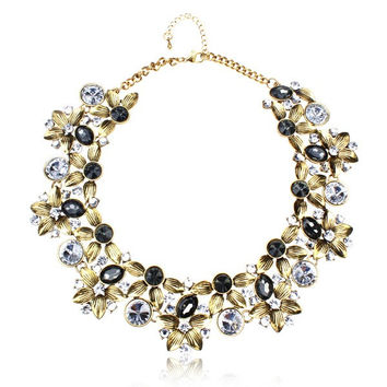 Vintage Crystal Flower Chunky Collar Necklace