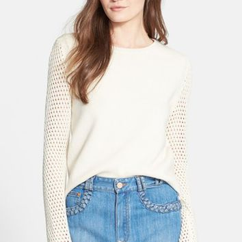 Women's See by Chloe Crochet Knit Sleeve Wool Sweater,