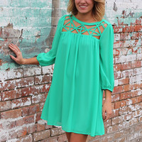 Caged In Cut Out Dress {Green}