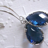 Wedding jewelry Sapphire drop glass earrings on silver 925 marquise earrings  Bridesmaids gifts Hostess gifts
