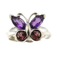 Gemstone Butterfly Ring 14k White Gold