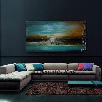 """Painting 48"""" Landscape Art Teal Brown Contemporary Art Home Decor LARGE Tree Art Scenic Paintings Wall Art Canvas Art on Canvas by Nandita"""