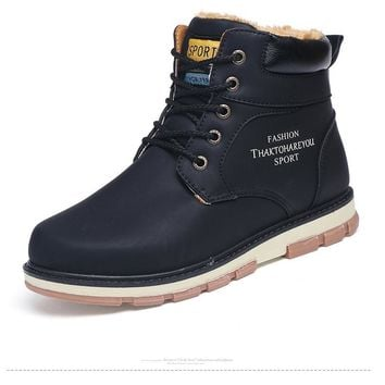 Men's Winter Boots Leather Wear Resisting Shoes Working Fahsion Men Boots