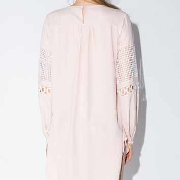 Embroidered Lace Cutout Long-Sleeve Dress