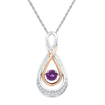 Sterling Silver Women's Round Lab-Created Amethyst Solitaire Diamond Pendant 1-4 Cttw - FREE Shipping (US/CAN)