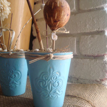 Blue/Aqua Painted Beach Cottage Decorative Metal Planter Pots, Small Up Cycled Plant Pots for Flower Arrangement