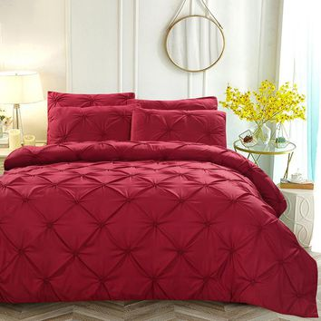 Cool Luxury Duvet Cover Set Red/White/Black/Grey Pinch Pleat 2/3pcs Twin/Queen/King Size Home Hotel Bedding Sets No SheetAT_93_12