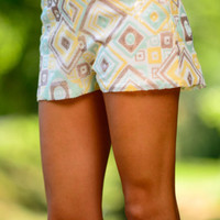 Geo Sequin Shorts, Mint