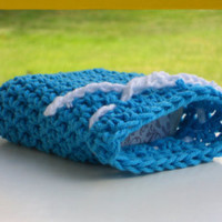 Blue Tonal Crocheted Bath Soap Holder Scrubbie