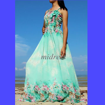 Maxi Dress Prom Dress Day Out Dress Wedding Fancy Dress Green Bridesmaid Dress Sundress