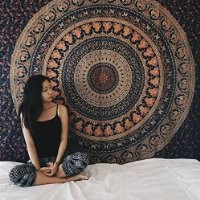 Popular Handicrafts Hippie Mandala Bohemian Psychedelic Intricate Floral Design Indian Bedspread Magical Thinking Tapestry 84x90 Inches,(215x230cms) Neavy blue tarquish
