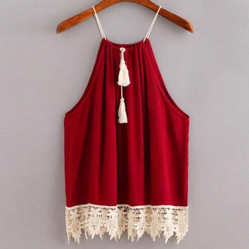 Lace Trimmed Tasselled Drawstring Blouse