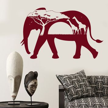 Vinyl Wall Decal African Animals Elephant Giraffe Nature Stickers Unique Gift (1535ig)