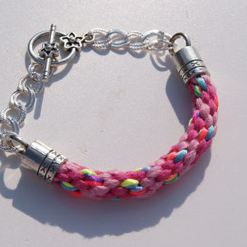 Cotton Yarn and Satin Cord Kumihimo Braided Bracelet with  Silver Plated Chain.