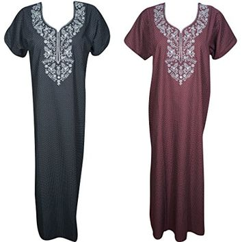 Mogul Interior Lot Of 2 Serena Womens Caftan Nightgown Printed Cotton Resort Wear Kaftan Nightdress L
