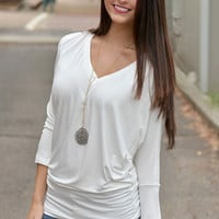 White V-Neck Dolman Top