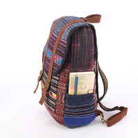 Purple Tribal Backpack Rucksack Embroidered Hippie Bohemian