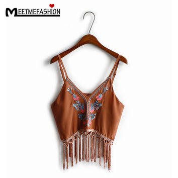 MEETMEFASHION New Fashion Vintage Women Country Style Bustier Crop Top Tassel Hem Embroidery Tops Summer Beach Sexy Camis
