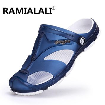 Ramialali Men Jelly Sandals Flat Heel Slippers Breathable Hole Non-slip Shoes Wading Water Sneakers Beach High Quality Aqua Shoe