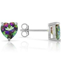 5mm Sterling Silver Heart Genuine Rainbow Mystic Topaz Stud Earrings