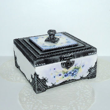 Antique Jewelry Box / Victorian Style Trinkets Box / Distressed Box / Old Silver Box / Hand Decorated box / Decoupaged by Elena Joliefleur