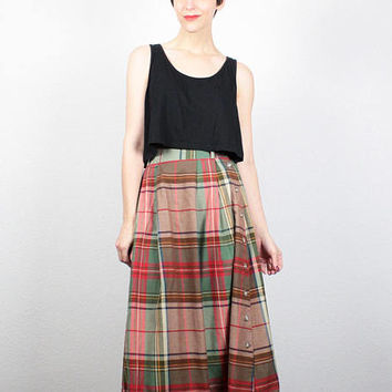Vintage Midi Skirt 1980s Tan Red Green Tartan Plaid Skirt 80s Skirt Preppy Skirt High Waisted Skirt Cotton A Line Skirt XS S Extra Small M