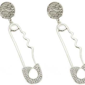 Safety Pin Earrings Silver
