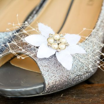 French veil shoe clips with vintage millinery, rhinestones and pearls