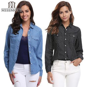 Miss Moly Women Jean Denim Shirt Boy-friend Style Casual Long Sleeves Pocket Polka Dot Turn-down Collar Black Blue