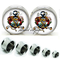 Flower anchor Double Flare steel  plugs,womens plugs,Body Piercing Gifts,0g plugs,00 plug,birthday presents for him,groom &bride gift
