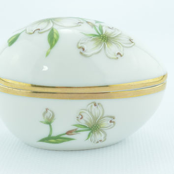 Ceramic Egg Trinket Box White & Green Dogwood Floral Design