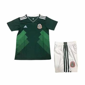 KUYOU Mexico 2018 World Cup Home Kids(Youth) Kit Personalized Name and Number