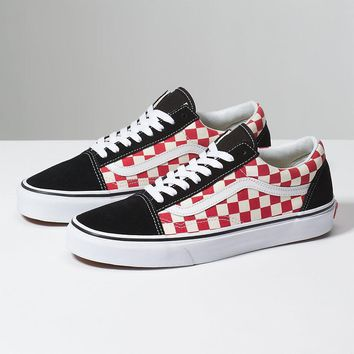 spbest VANS CHECKERBOARD OLD SKOOL - Black/Red
