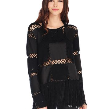 RD Style Patchwork Blouse With Fringe