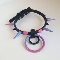 Spun- Vegan biothane Spiked cotton candy colored BDSM O ring DDLG Collar