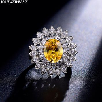 M&W JEWELRY Yellow CZ zircon Jewelry Wedding Rings Charming Jewellery Women Bijoux with Clear Little Zircon Setting Ring Jewelry