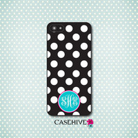 iphone 5 case, iphone 4 case - personalized iphone case, black and white polka dots and monogram