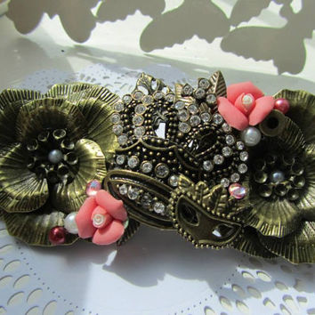 Vintage inspired Upcycled sparkle shabby chic flower hair barrette-clip sparkly crown reworked Wedding hair Bridal accessories Super cute